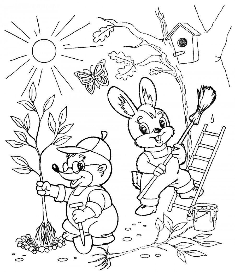 Весна рисунок раскраска