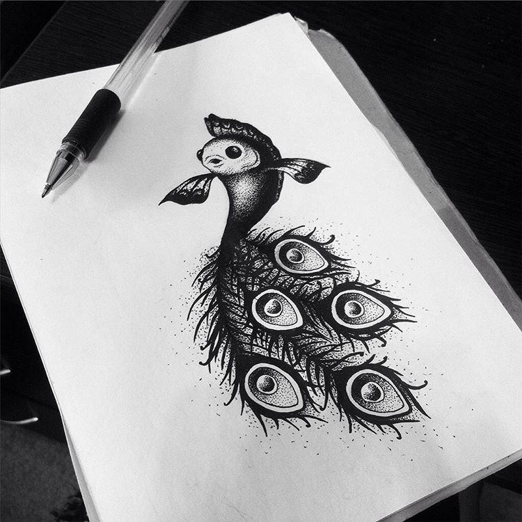 Красивая картинка черной ручкой