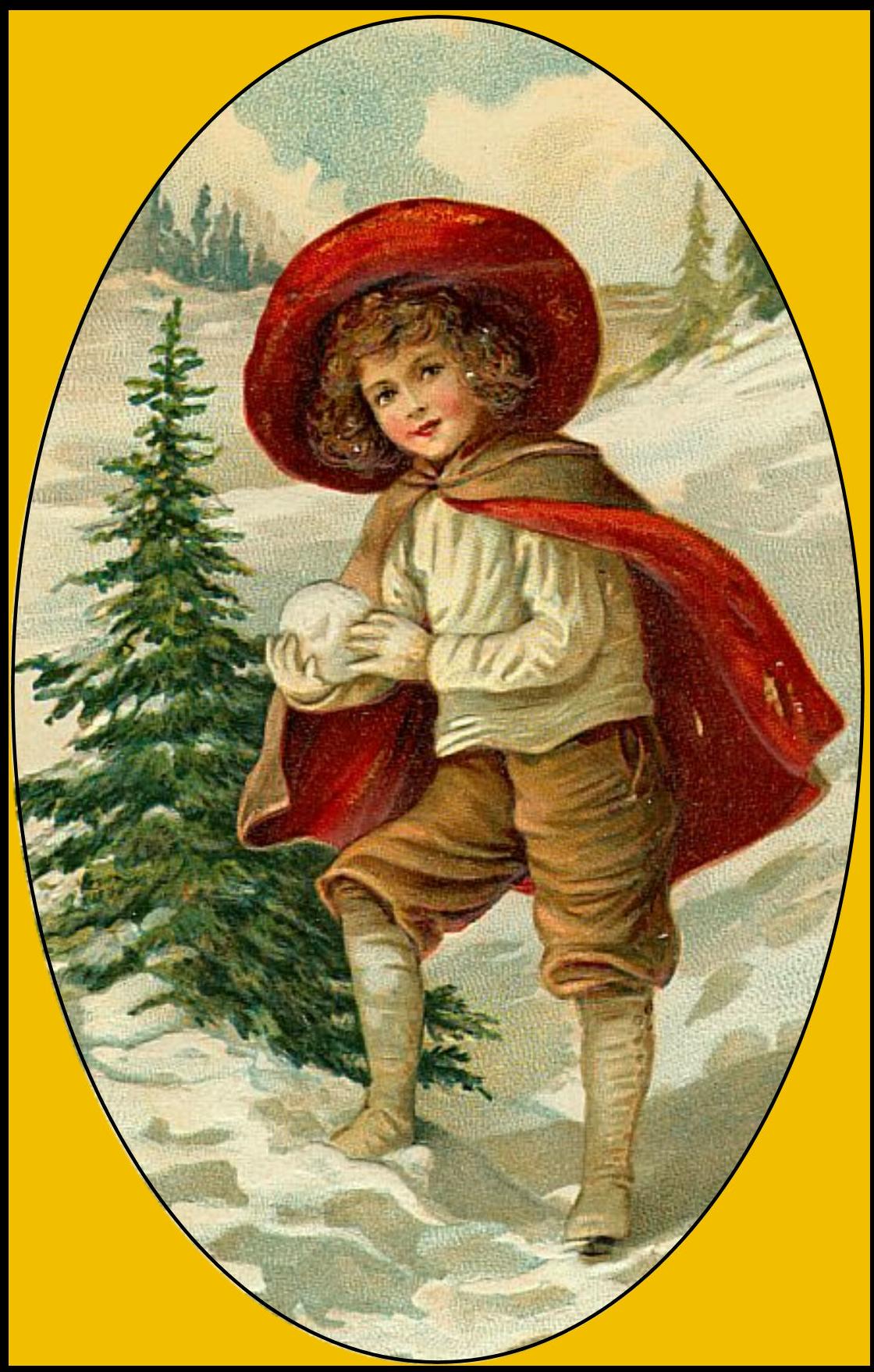 Винтажные новогодние картинки с детьми