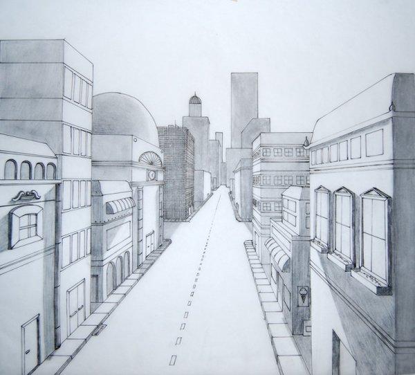 рисунок улицы города карандашом для начинающих