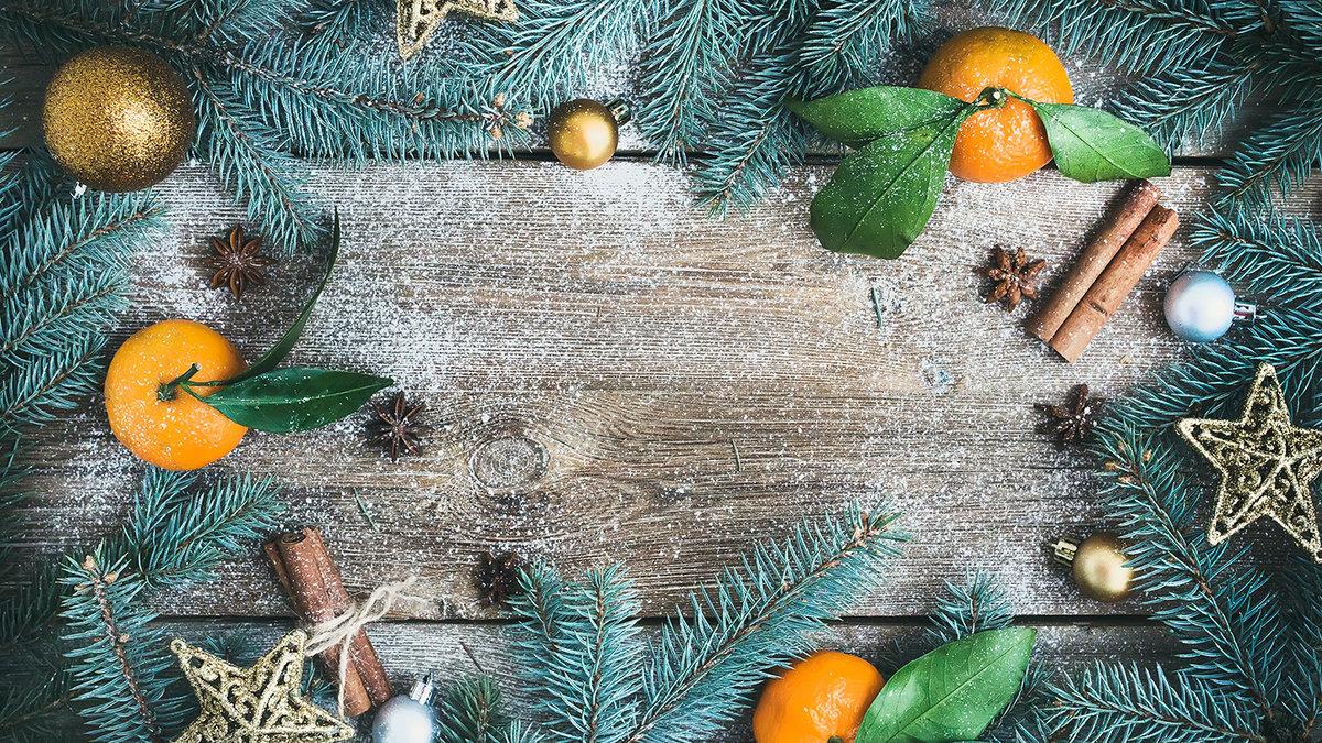 Открытка новогодней ветки