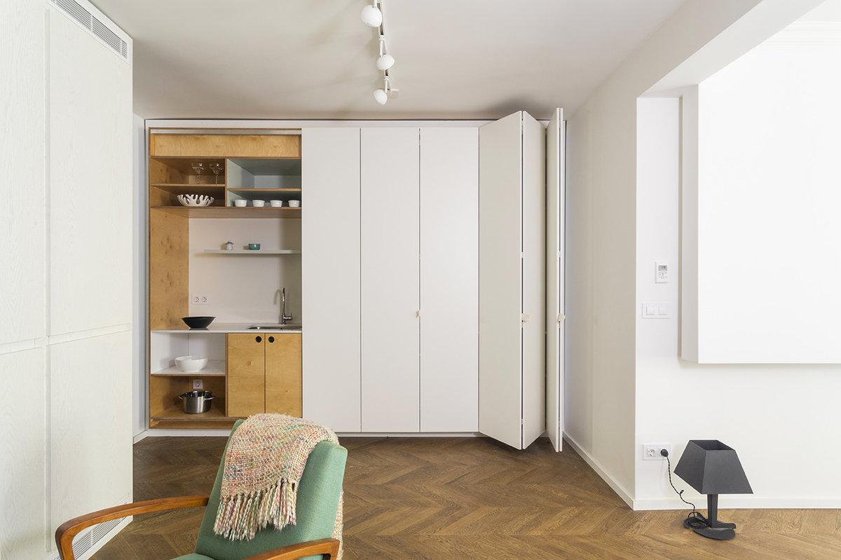скрытые шкафы в интерьере