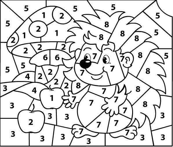 Раскраска с цифрами до 10 в картинках, для детей картинки