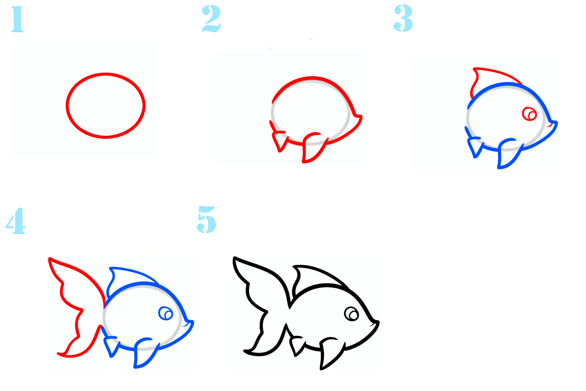 рисуем карандашом поэтапно рыбку картинки широкоформатные бесплатные