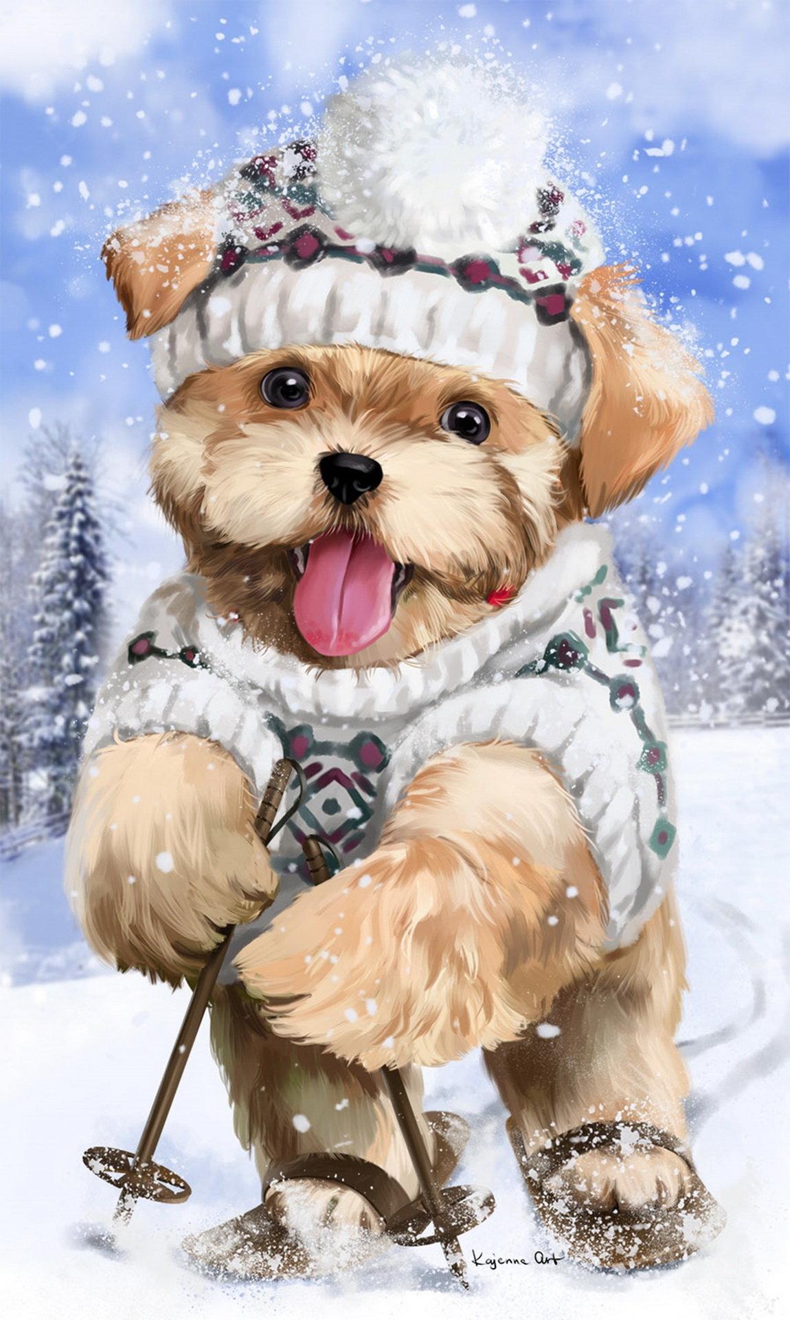 Открытки с нарисованными собачками