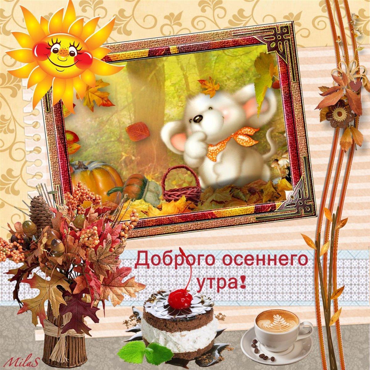 Картинки поздравлениями, шуточные открытки с добрым утром осенним