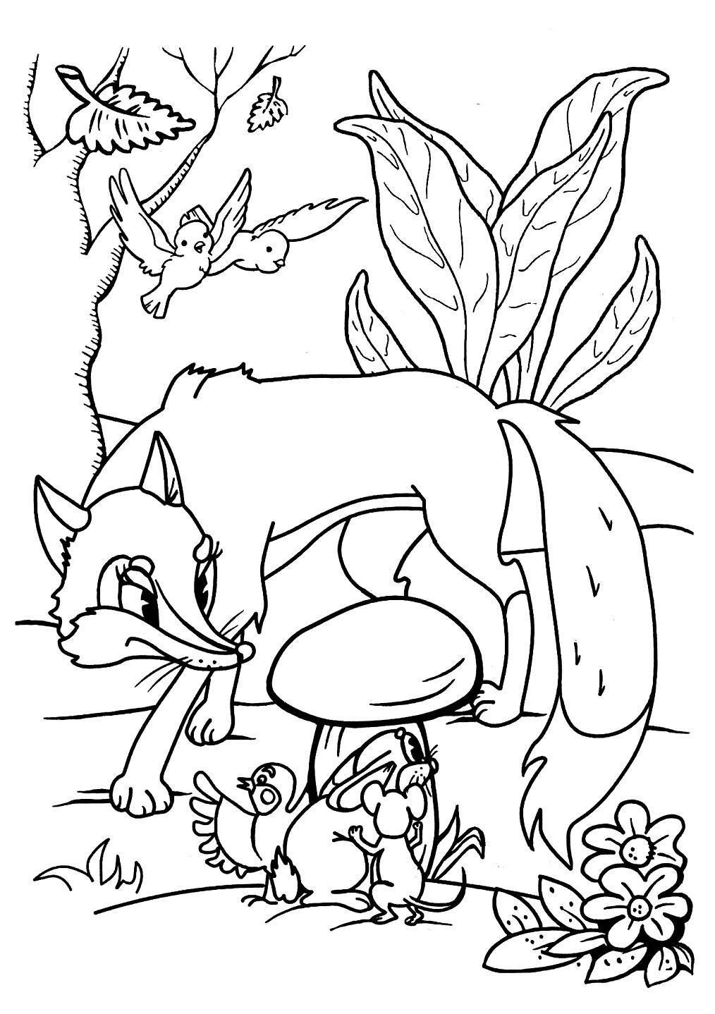 «Лисичка возле гриба Раскраски для мальчиков бесплатно ...