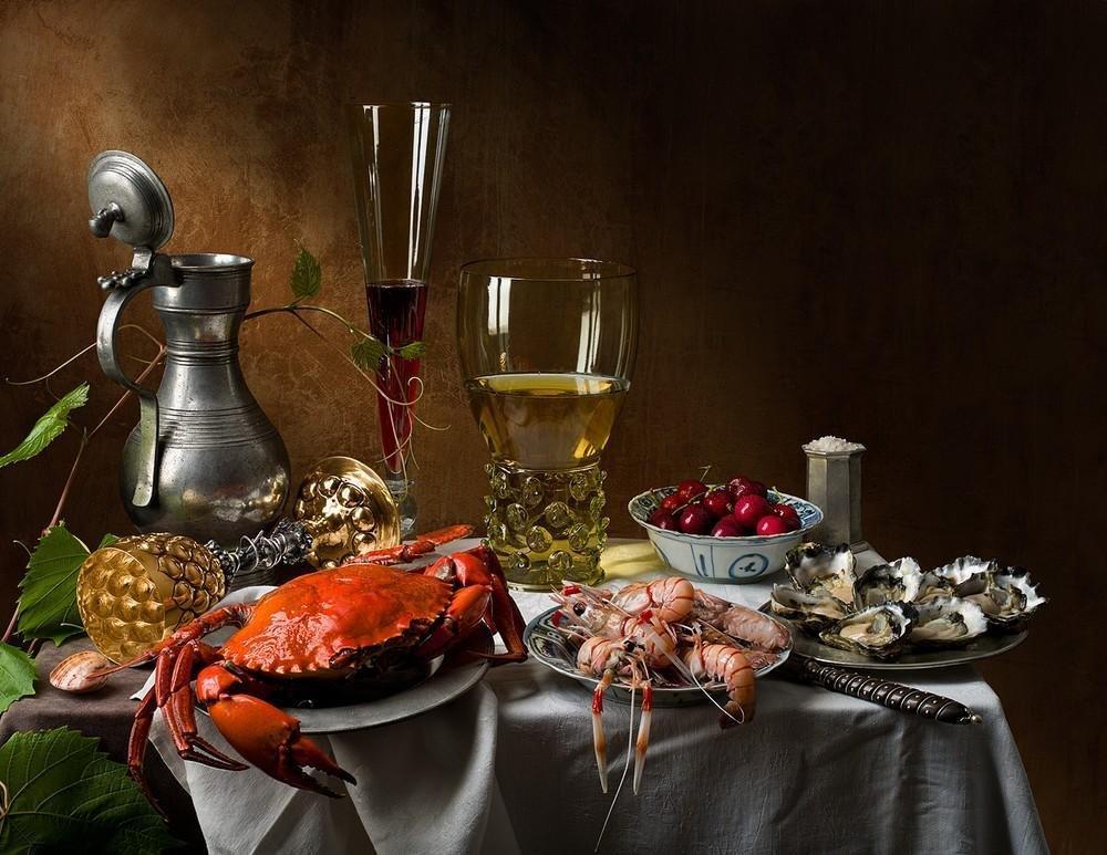Открытки накрытый стол с вином и едой