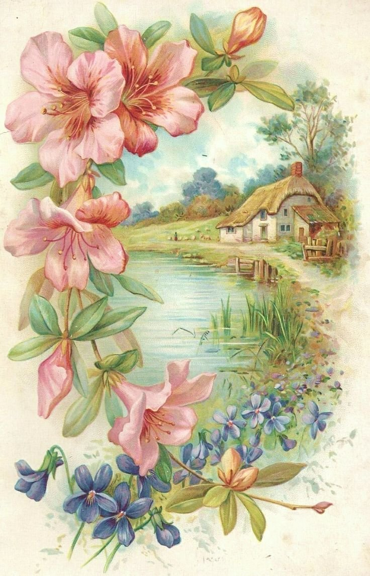 Природа на старинных открытках, картинки туалетом анимация