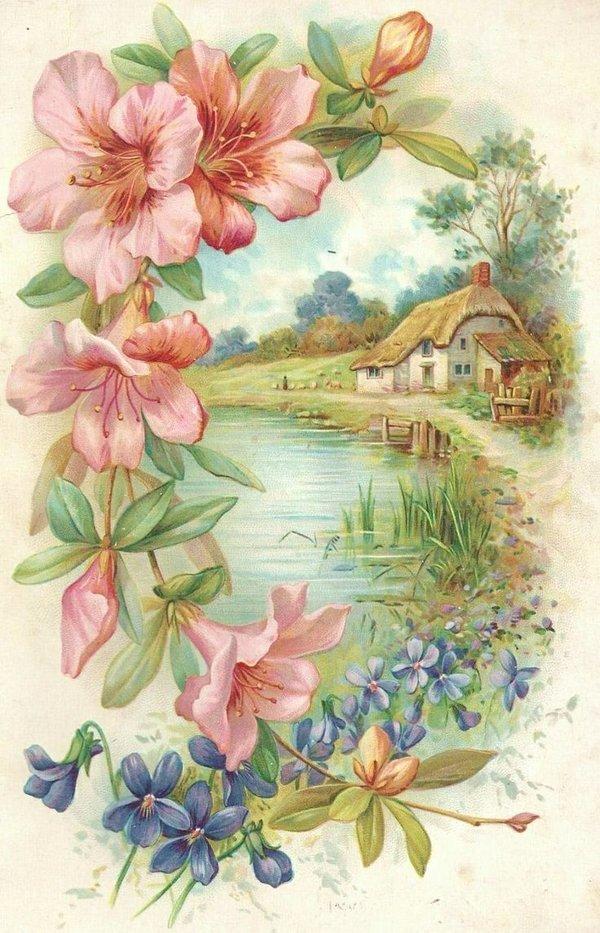 настоящее открытки под старину цветы свою