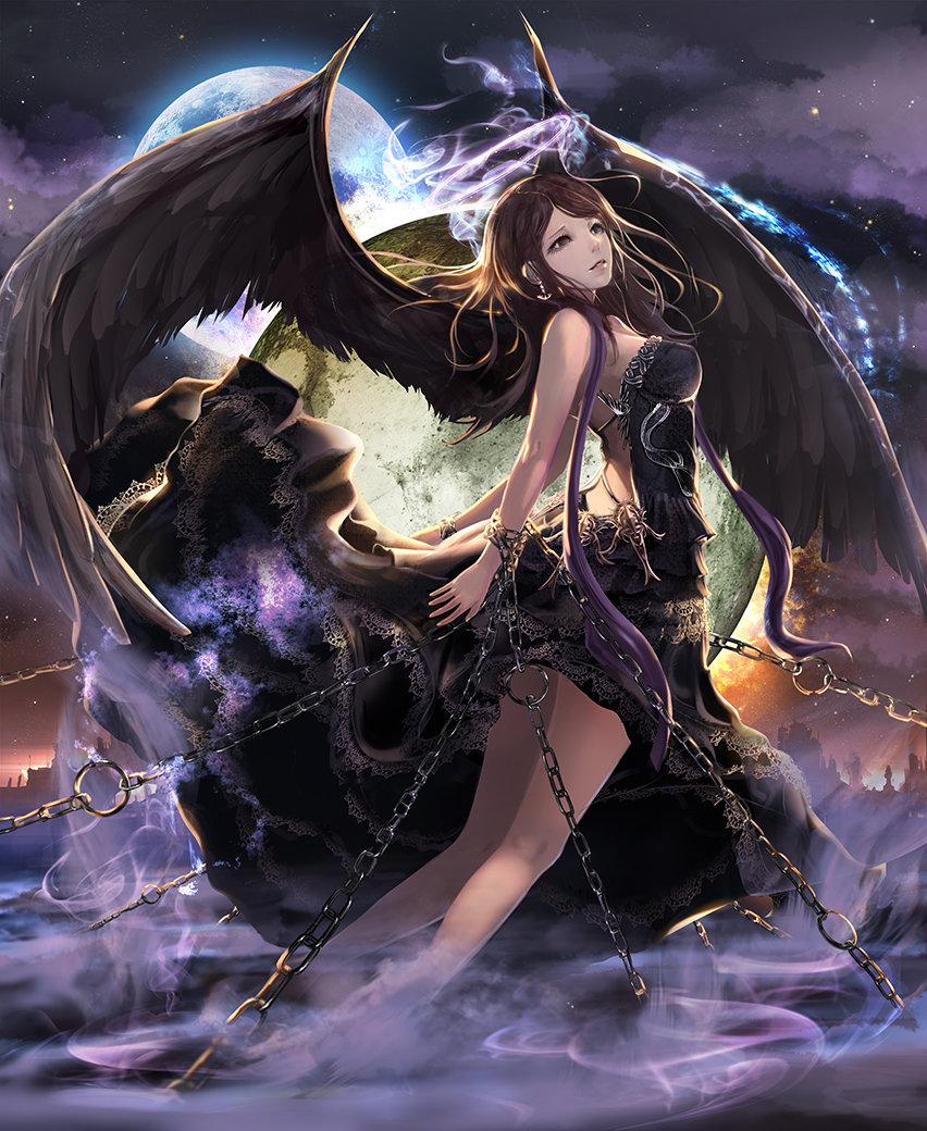Аниме девушки с черными крыльями