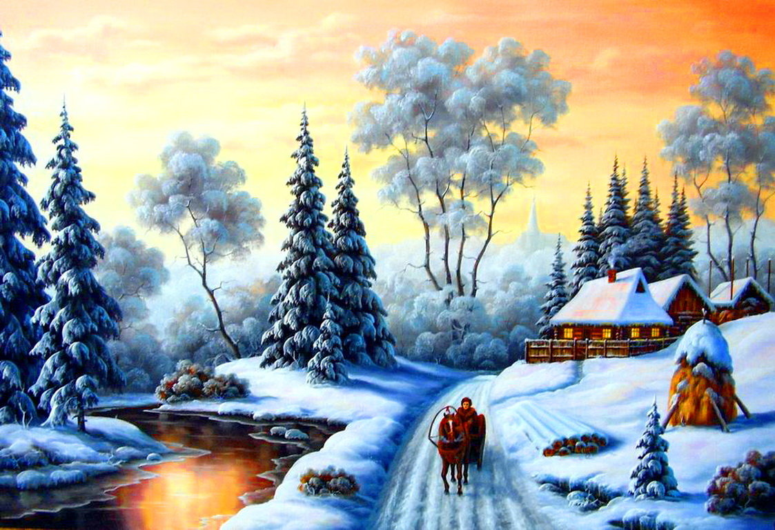 Зимние пейзажи картинки декупаж