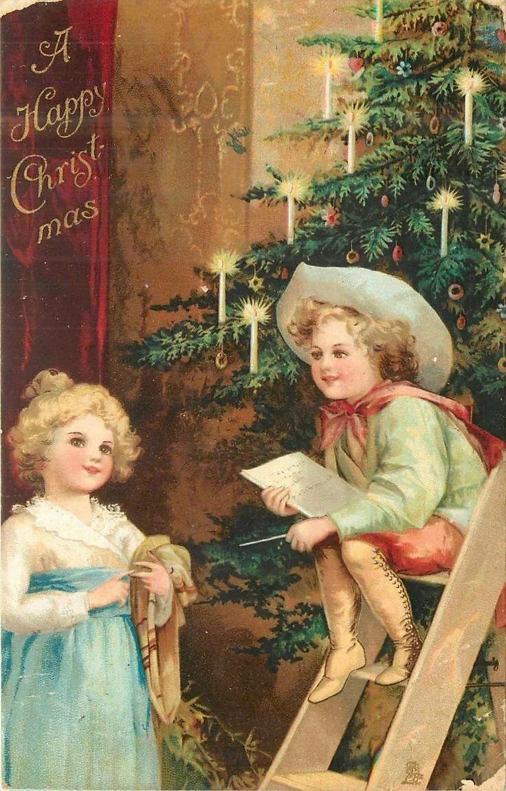 Картинках, дореволюционные новогодние открытки фото
