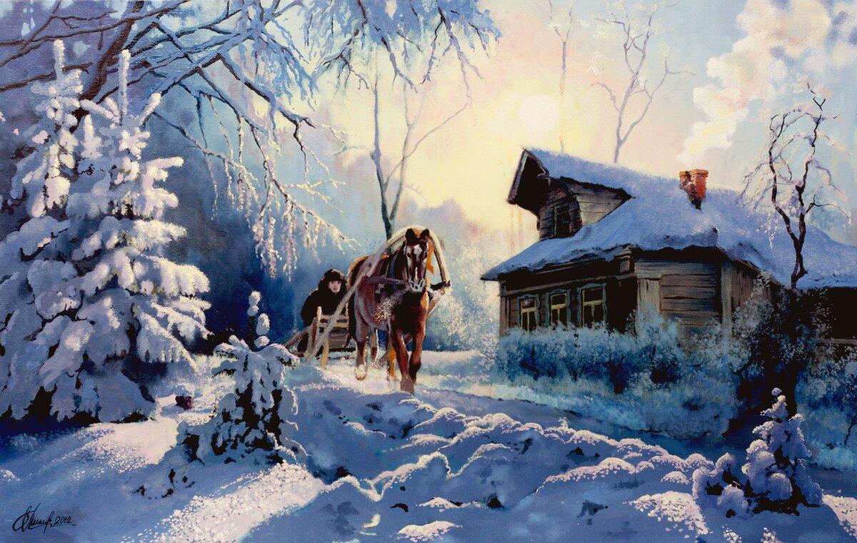 картинки пейзаж зима в деревне