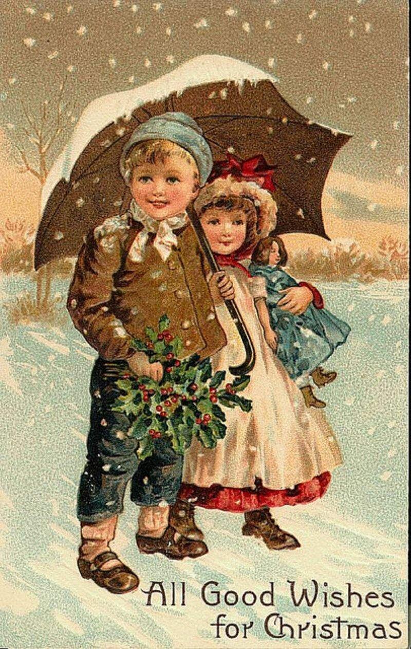 Открытка, дети на новогодних открытках