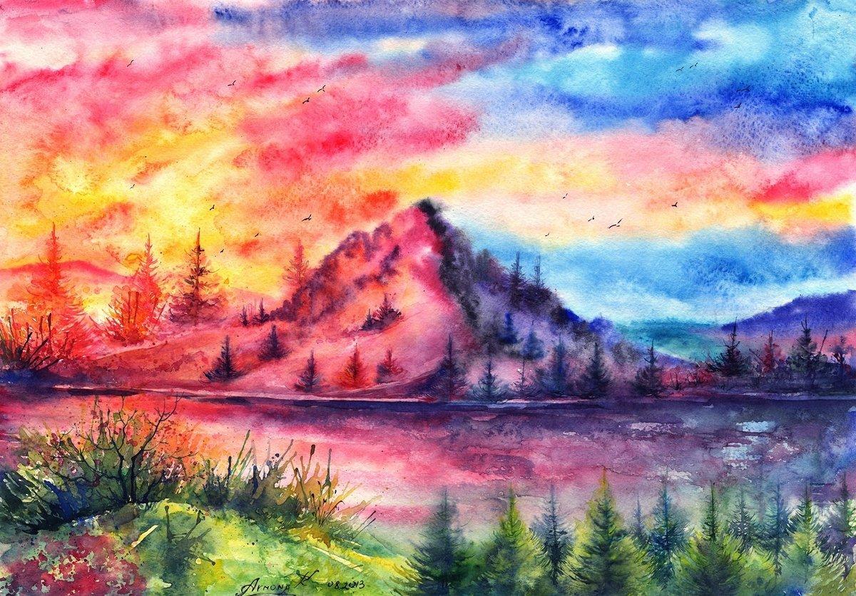 Картинки нарисованные акварелью пейзажи, картинки марта