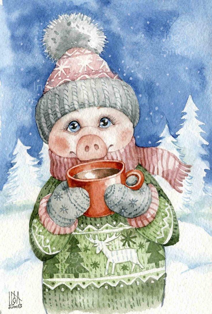 Новогодние открытки цветными карандашами, пальцами