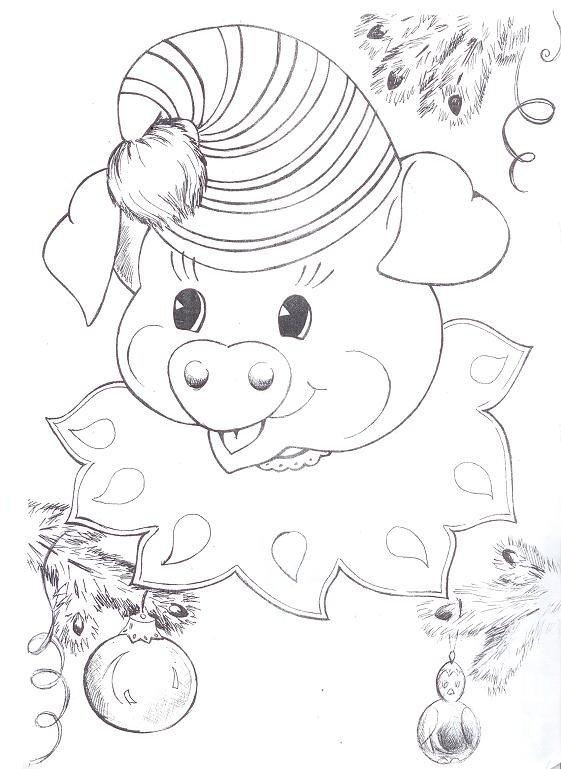 Красивыми, новогодняя открытка для раскрашивания со свиньей