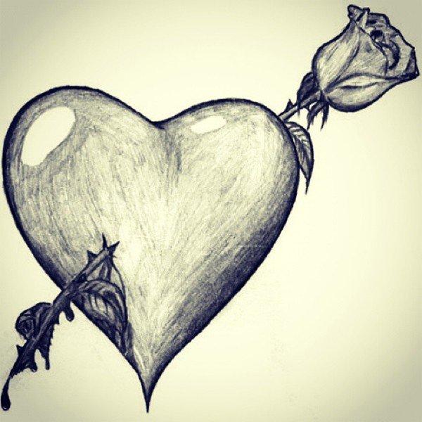 Успехами, картинки сердца карандашом