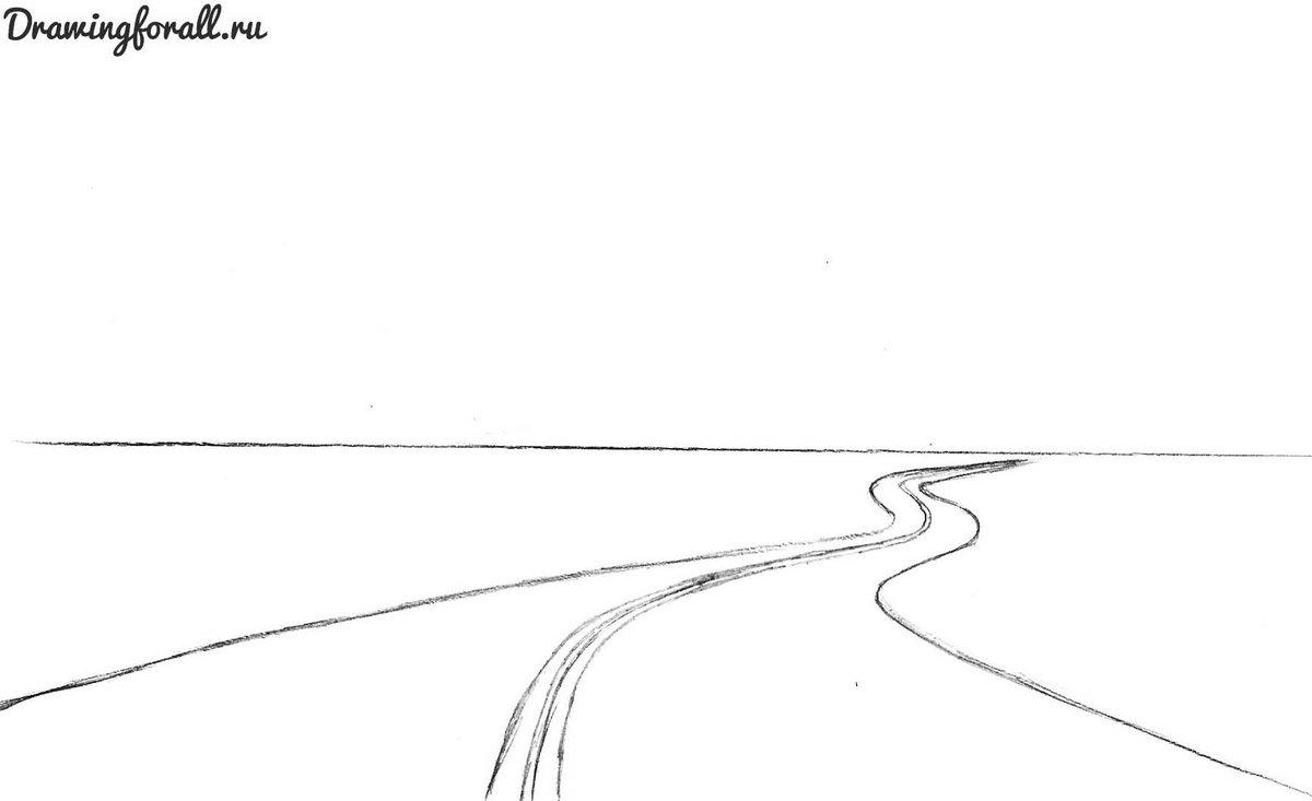 Картинки дороги карандашом