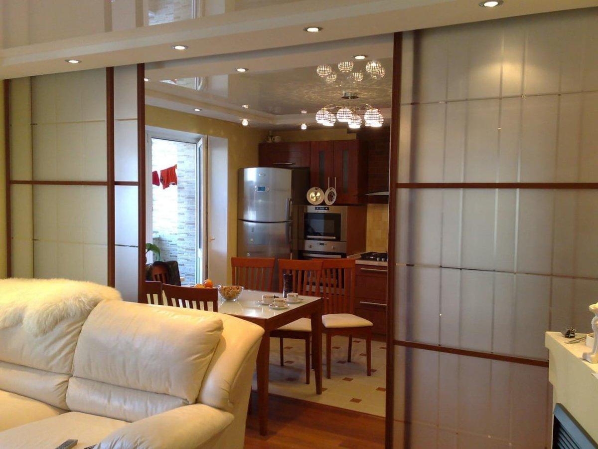 перегородка между комнатой и кухней фото можно