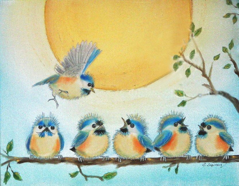 Картинки для детей птичка на ветке, день