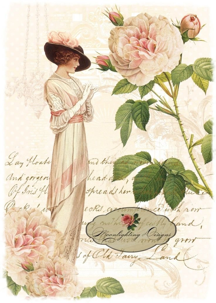 Именами женскими, ретро картинка с цветами