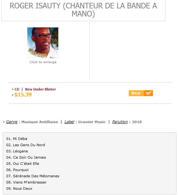 Roger ISAUTY (Chanteur De LA BANDE A MANO) - Antilles-Mizik.com S1200