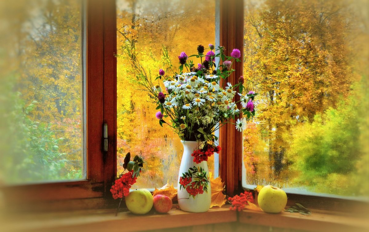 Картинка осень на окне