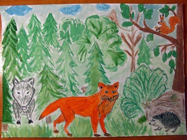 утром стакан нарисовать рисунок животные лесов россии совсем