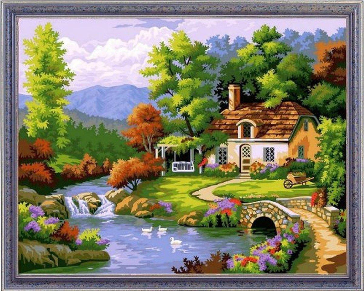Рисунок домик в лесу у речки