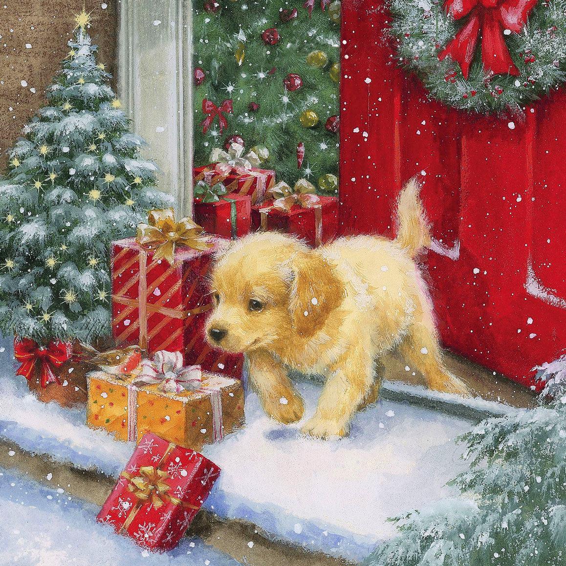 Марта, открытки новый год собаками