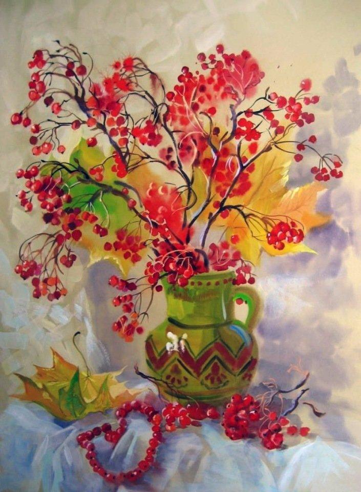 листья в вазе рисунок гуашью был магом смог