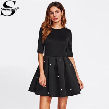 a63901665f33ee3 ... Вечерние Платье черное с круглым вырезом с коротким рукавом облегающее  платье трапециевидной формы женское элегантное зимнее платье купить на  AliExpress