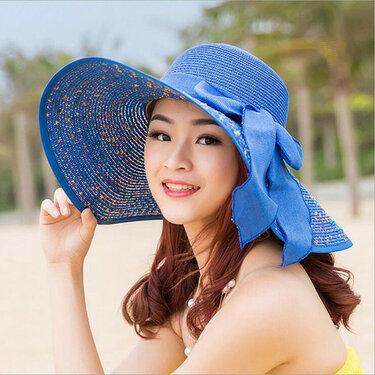 465e465151bc1 1 pcs Women s beach hats Caps 2018 Summer Fashion Foldable Chiffon ...