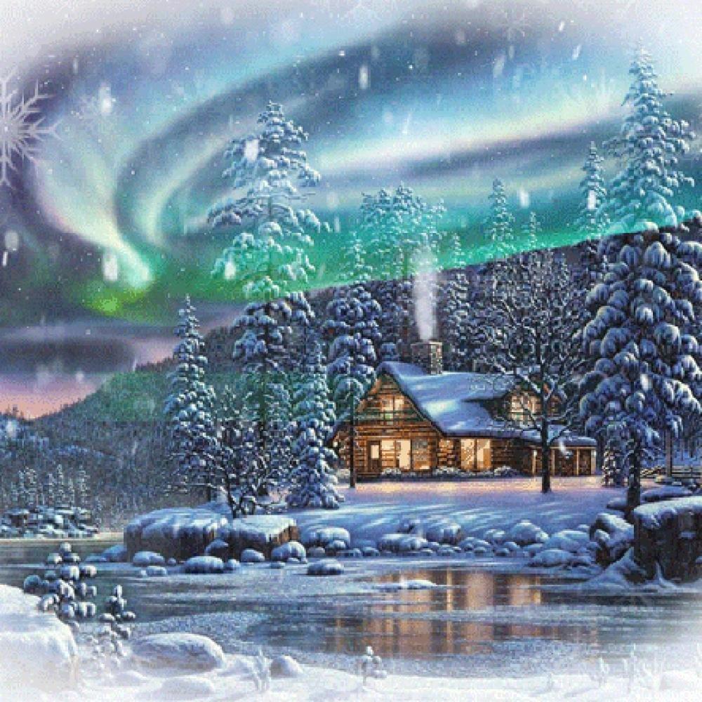 Картинка зимний лес анимация, для