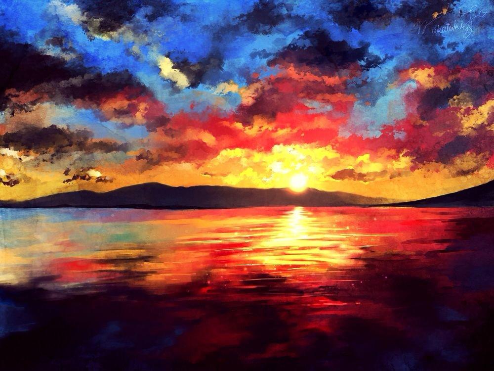 Картинки рассвета красками