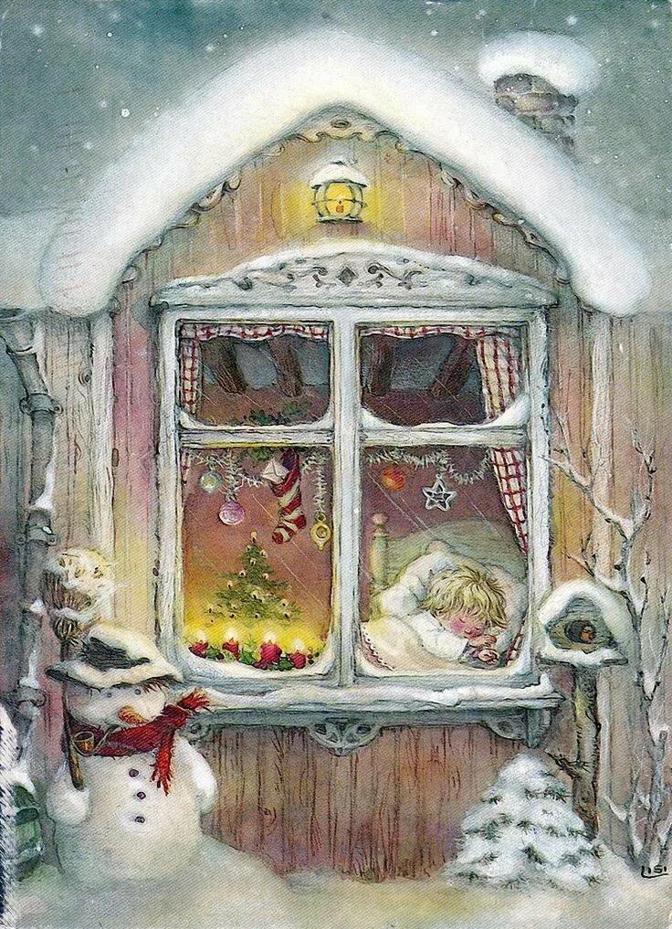 Родов, новогодняя открытка дед мороз смотрит в окно