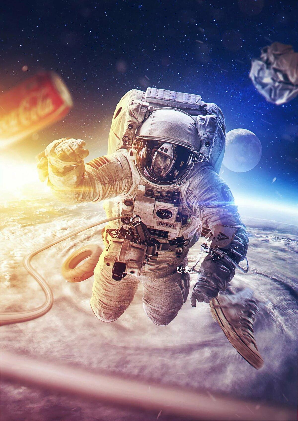 картинки космос и космонавт зимнем