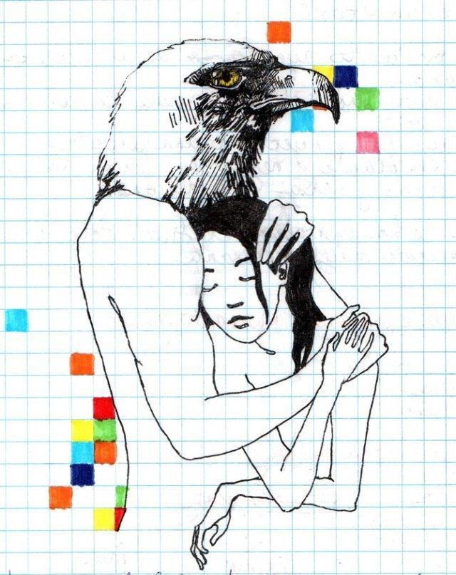 Прикольные рисунки по клеткам ручкой, друзья ангелов крылья