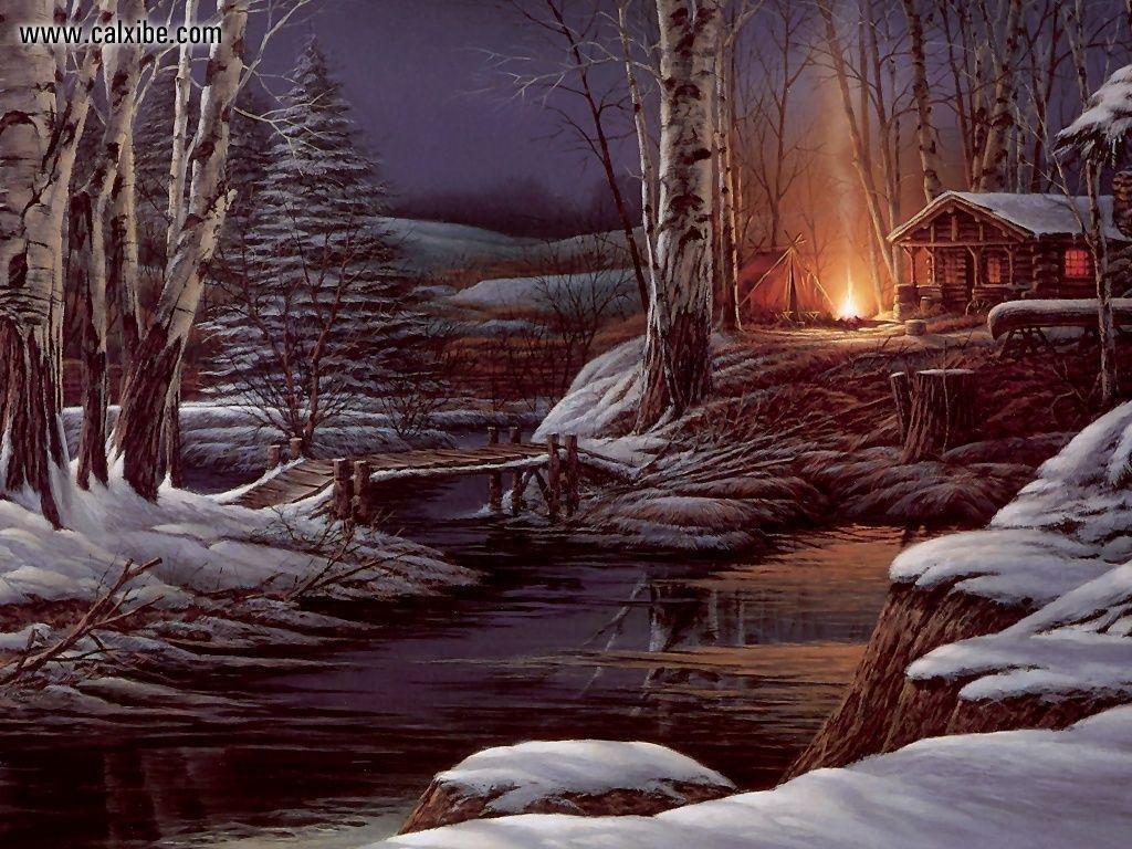 Картинка гиф зимний лес, днем рождения