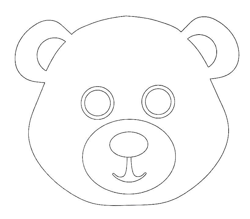 как маска медведя раскраска на голову из бумаги распечатать ним