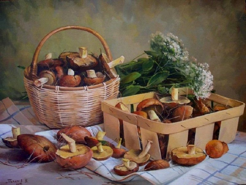 Открытки лукошко с грибами