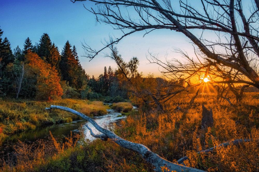 Осенний закат окрашен в разные-разные яркие цвета
