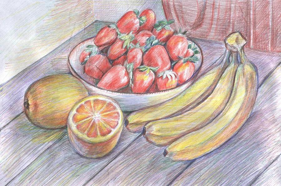 Рисунок фрукты на столе, одуванчик анимация