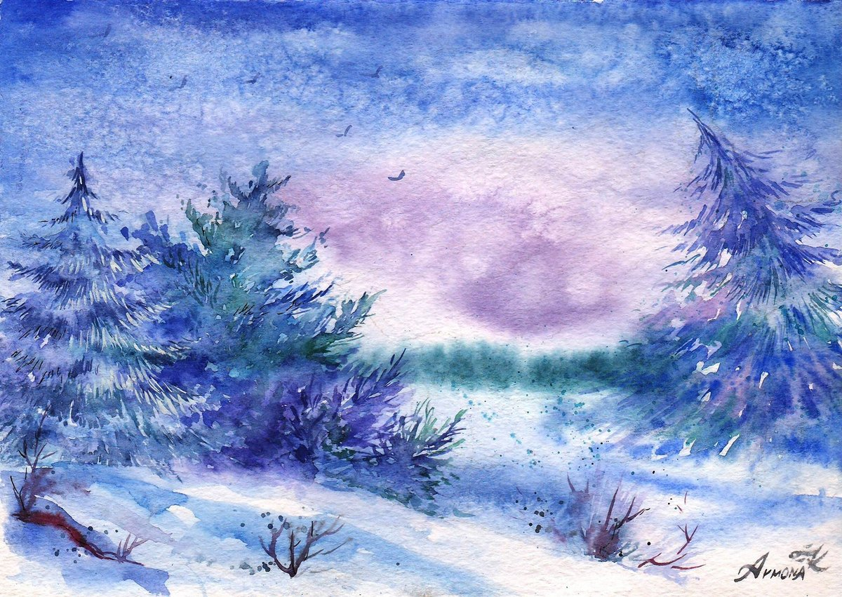Нарисованный зимняя картинка