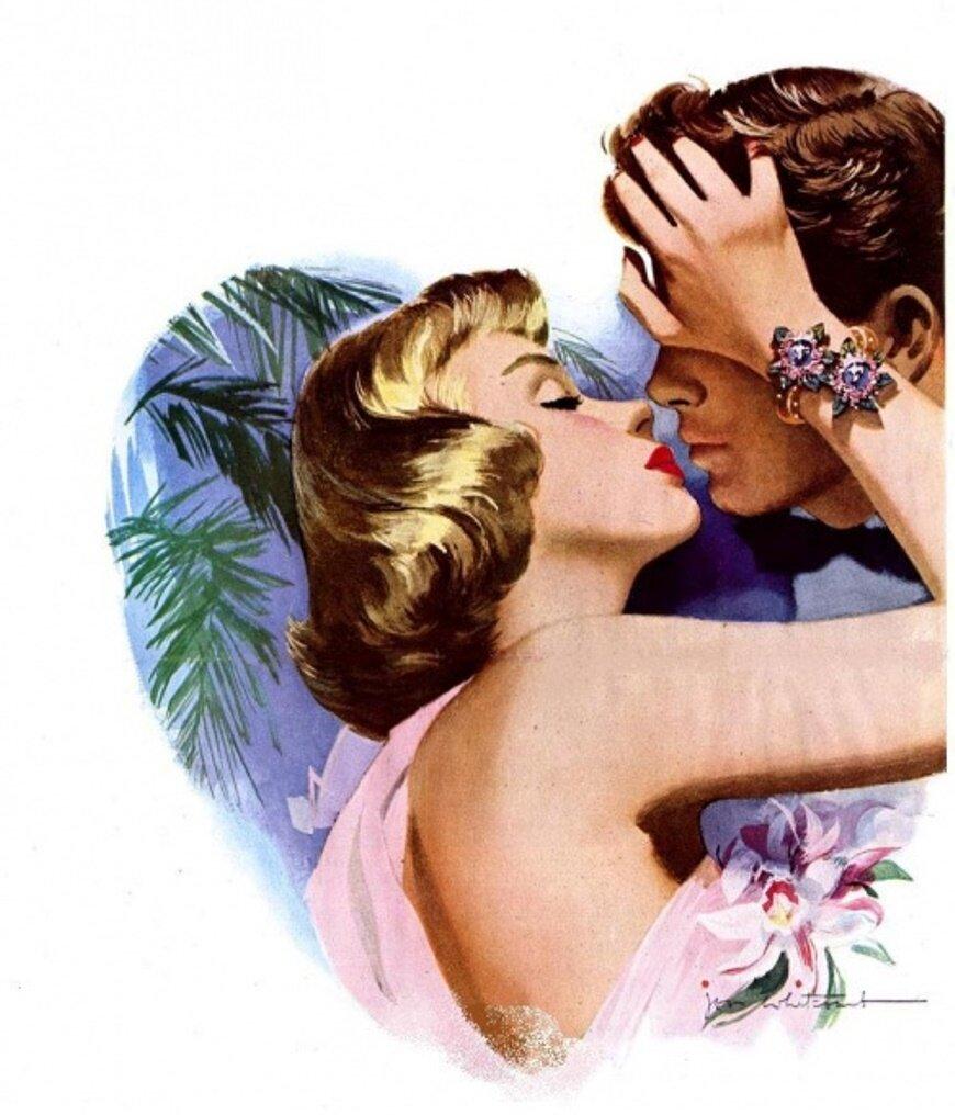 Открытки поцелуй ретро