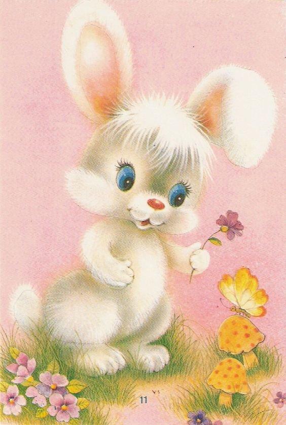 Днем рождения, открытки зайчик с цветами
