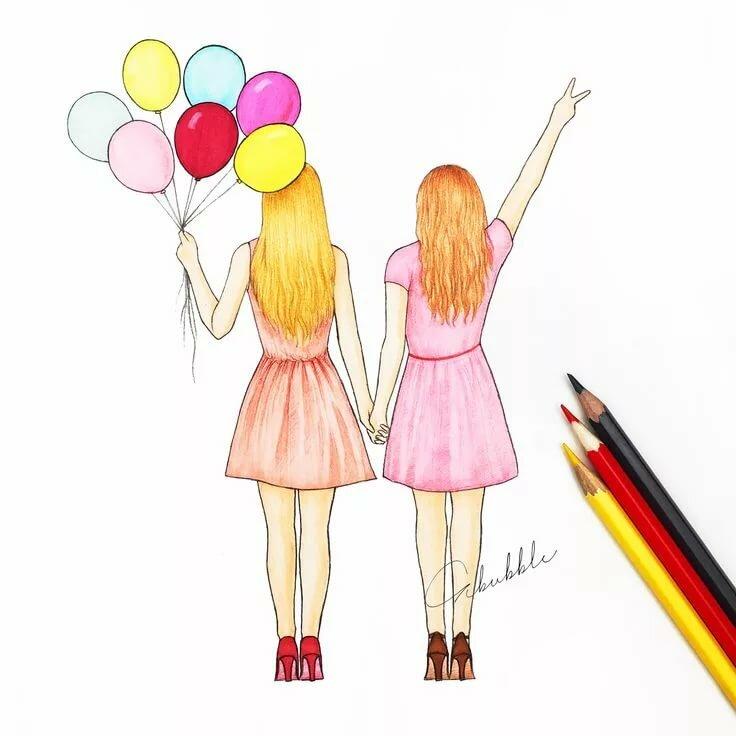 Картинки на день рождения для подруги для срисовки