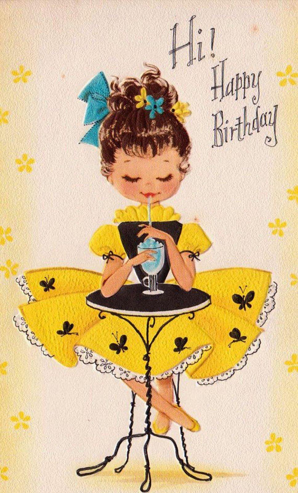 Открытки девушки ретро с днем рождения для, днем